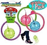 Toysmith Flashing Skip Ball Purple/Green, Green/Pink & Blue/Pink Complete Gift Set Bundle - 3 Pack