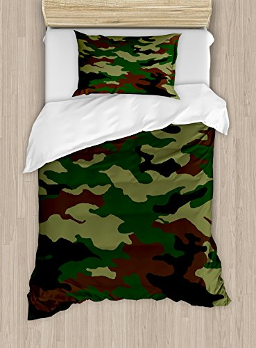 Ambesonne Camo Twin Size Duvet Cover Set, Fashionable Graphic Uniform Inspired Camouflage Clothing Design, Decorative 2 Piece Bedding Set with 1 Pillow Sham, Forest Green Pale Green (Camouflage Pillow Sham)