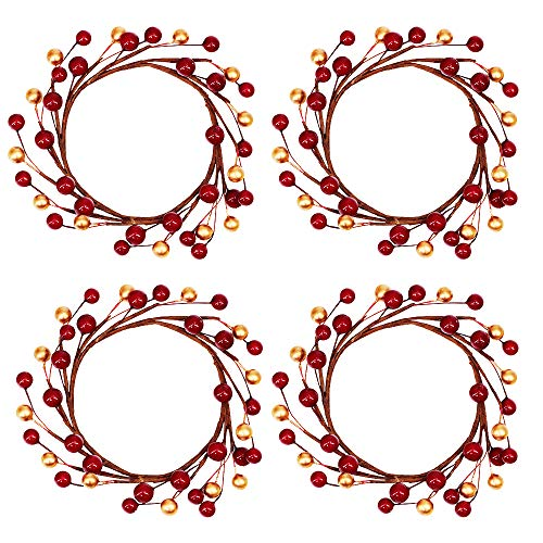 - 4 Pcs Artificial Red and Gold Berry Candle Rings Christmas Candle Holder Rings Mini Berry Twigs Wreaths Candle Wreaths Rings 6.3 Inch Wide for Holiday Season Winter Décor Rustic Farmhouse Centerpiece