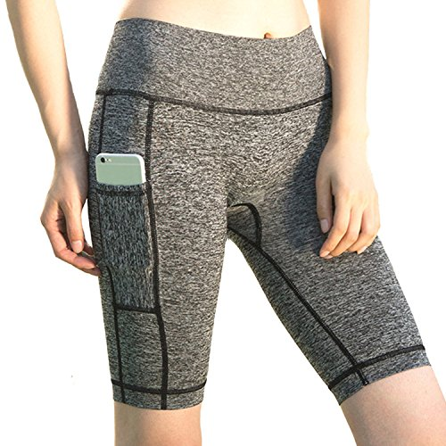 Beurlike Women's High Waist Yoga Shorts Tummy Control Running Pants Side Pockets (Grey3, Medium)