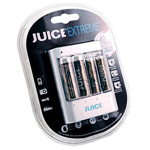 - JUICE Extreme Replay Rapid/Smart USB Starter Kit with 1500 Cycle 2-AA PLUS 2-AAA Pre-Charged Rechargeable Hybrid Batteries - Special Edition Camouflage JERHOJ421001 - Camo