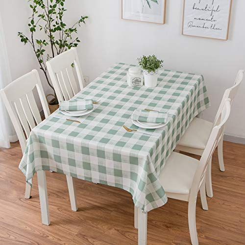 - Eforcurtain Heavy Weight Classic Microfiber Table Cover Rectangle Tablecloth Stain Resistant/Spill-Proof/Waterproof, Sand Green, 60-inch by 102-inch