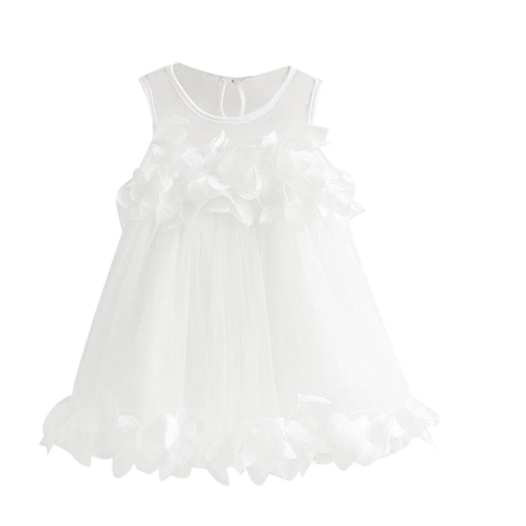 Oyedens Bambine Principessa Abiti Eleganti Bambina Partito Compleanno Comunione Swing Vestiti da Cerimonia Bambine da Principessa di Impronta Veste Senza Maniche per 2-6 Anni