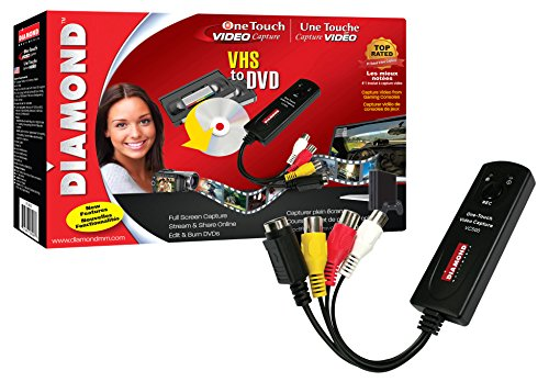 Diamond VC500 USB 2.0 One Touch VHS to DVD Video Capture Device with Easy to use Software, Convert, Edit and Save to Digital Files For Win7, Win8 and Win10 (Internal Graphics Transfer)