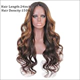 150Density Beautiful Ombre Highlight Color Lace Front Human Hair Wigs Glueless Brazilian Remy Hair Long Wave Lace Front Human Hair Wigs With Baby Hair For Women (20)