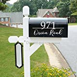 Set of 2 Custom Mailbox Address Vinyl Decal Stickers Mail Box Vinyl Numbers House Numbers Home Address (6.5''h x 14''w PLUS FREE WELCOME DOOR DECAL)