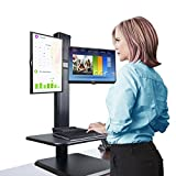 WS-0018 Sit to Stand Workstation Dual Monitor Ergonomic Standing Desk Converter, Black