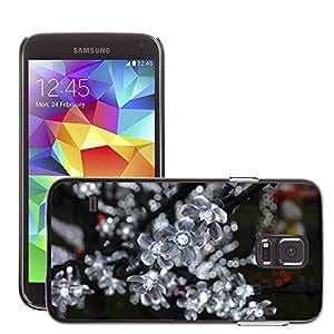 Etui Housse Coque de Protection Cover Rigide pour // M00150817 Decoraciones Flores Luces Blanca // Samsung Galaxy S5 S V SV i9600 (Not Fits S5 ACTIVE)