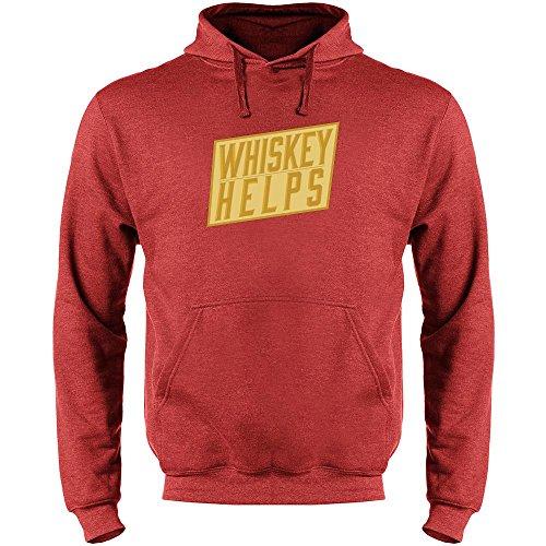 Pop Threads Whiskey Helps Heather Red M Mens Fleece Hoodie Sweatshirt (Cask Malt Single)