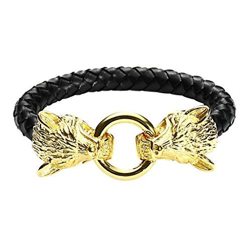 [Men Stainless Steel Mens Gold Wolf Head Bracelet Black Genuine Braided Leather Bangle Wristband] (1980s Tennis Costume)