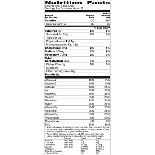 Reeses Puffs Breakfast Cereal, Peanut Butter, 22.9 Oz