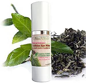 Organic Caffeine Eye Whip - Cream - Best Treatment for Puffy Eyes, Dark Circles, Fine Lines - Natural - Antiaging - Caffeine, Hyaluronic Acid, Cucumber, Green Tea - 1 OZ. - Wake Up Tired Eyes!
