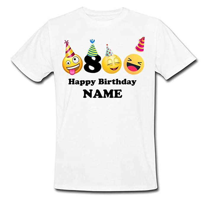 fc7128ce Image Unavailable. Image not available for. Color: Sprinklecart Cool Emoji  Smiley 8th Birthday Tee ...