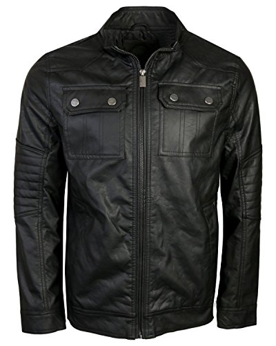 Urban Republic Men\'s Faux Leather Jacket, Black, Medium'