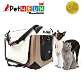 PET4FUN PN951 Foldable Pet Puppy Dog Cat Carrier & Travel Crate w/ Premium 600D Oxford Cloth, Strong Steel Frame, Carry Bag, Locking Zippers, Washable Nap Pad, Room Airy Windows (Medium/Brown)