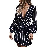 JESPER Women's Fashion Long Sleeve Casual Striped Ruffle Mini Dress XL Navy
