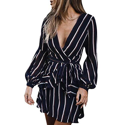 Ulanda Summer Autumn Women's Fashion Long Sleeve Casual Striped Ruffle Mini Dress Elegant Short Dresses