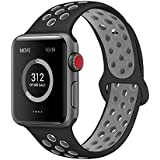 AdMaster for Apple Watch Bands 42mm,Soft Silicone Replacement Wristband for iWatch Apple Watch Series 1/2/3 - M/L Black/Cool Grey