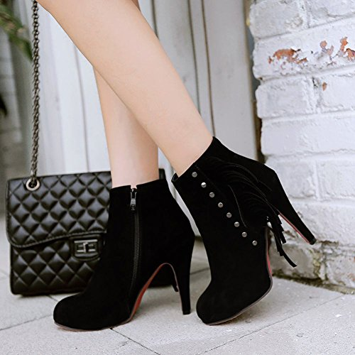 Mee Shoes Damen Reißverschluss Quaste innen Plateau high heels Ankle Boots Schwarz