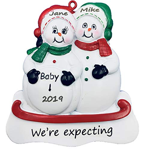 Mom & Dad We're Expecting Snowmen Personalized Christmas Ornament- Pregnant (Expecting Ornament Mother)