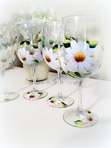 Hand Painted White Daisy Wine Glass, Set of 2, Floral Wine Glasses, Unique Wedding Favors for Bridal shower, 12 oz Stemmed Wine - Wine Daisy
