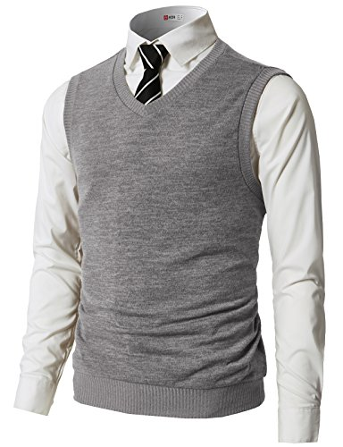 H2H Mens Slim Fit Casual V-Neck Knit Vest Gray US 3XL/Asia 4XL (CMOV042)