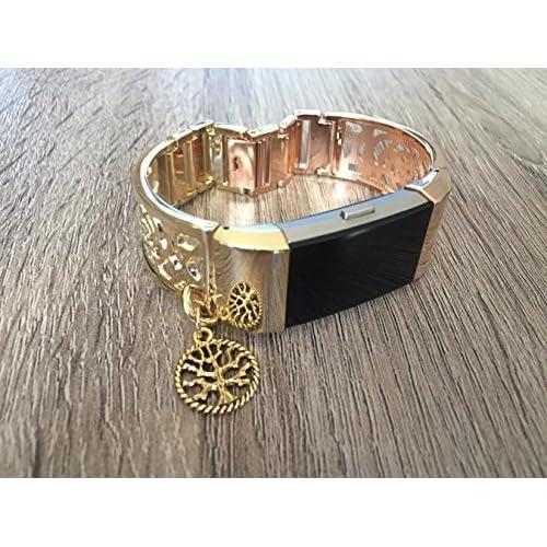 Bicolore Doré et or rose Bracelet en métal pour Fitbit Charge 2tracker de fitness Motif de fleurs Bijoux Bracelet Doré avec charm Arbre de vie fait à la main Bracelet réglable