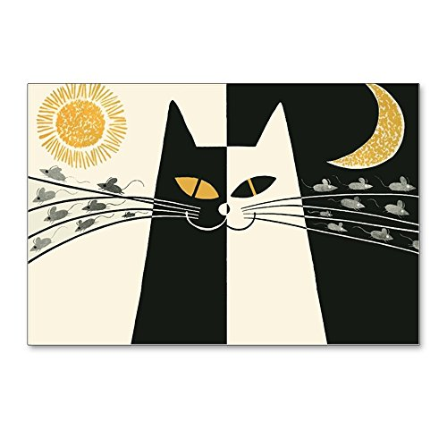 CafePress - Black And White Cat; Vintage Poster Postcards (Pac - Postcards (Package of 8), 6