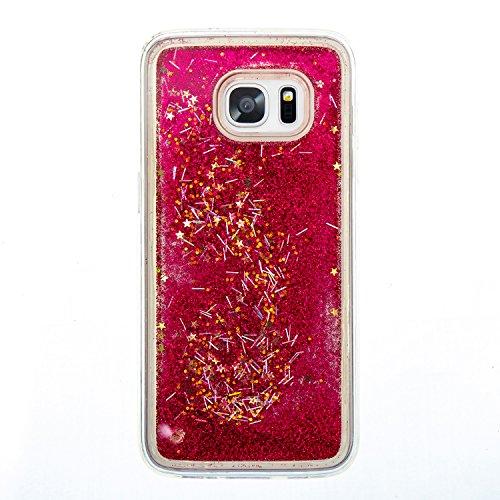 Funda Galaxy S7/S7 edge Pacyer® Transparente Diseño TPU Bling Arena Movediza Lentejuelas Concha Blanda Quicksand PC Casco de Plástico Resistente a Arañazos Choque Absorción Rojo