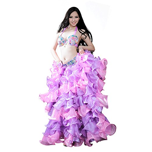 [ROYAL SMEELA Belly dance Costume Set Professional Dress Suit For Women Bra and Belt Skirt Set] (Purple Belly Dance Costume)