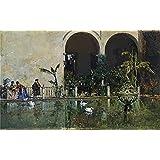 Canvas Prints Of Oil Painting 'Madrazo Y Garreta Raimundo De Estanque En Los Jardines Del Alcazar De Sevilla 1868' 20 x 32 inch / 51 x 82 cm , Polyster Canvas, Dining Room, Game Room, Home decoration