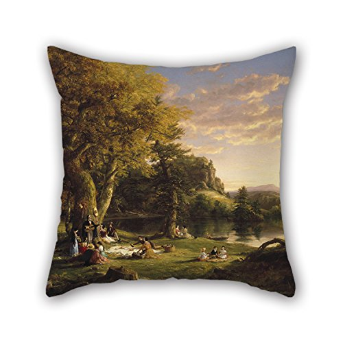 Slimmingpiggy Oil Painting Thomas Cole - The Pic-Nic Pillow Shams 16 X 16 Inches / 40 By 40 Cm Gift Or Decor For Seat,office,teens Girls,her,christmas,bedroom - Double Sides (Embroidered Pique Sham)