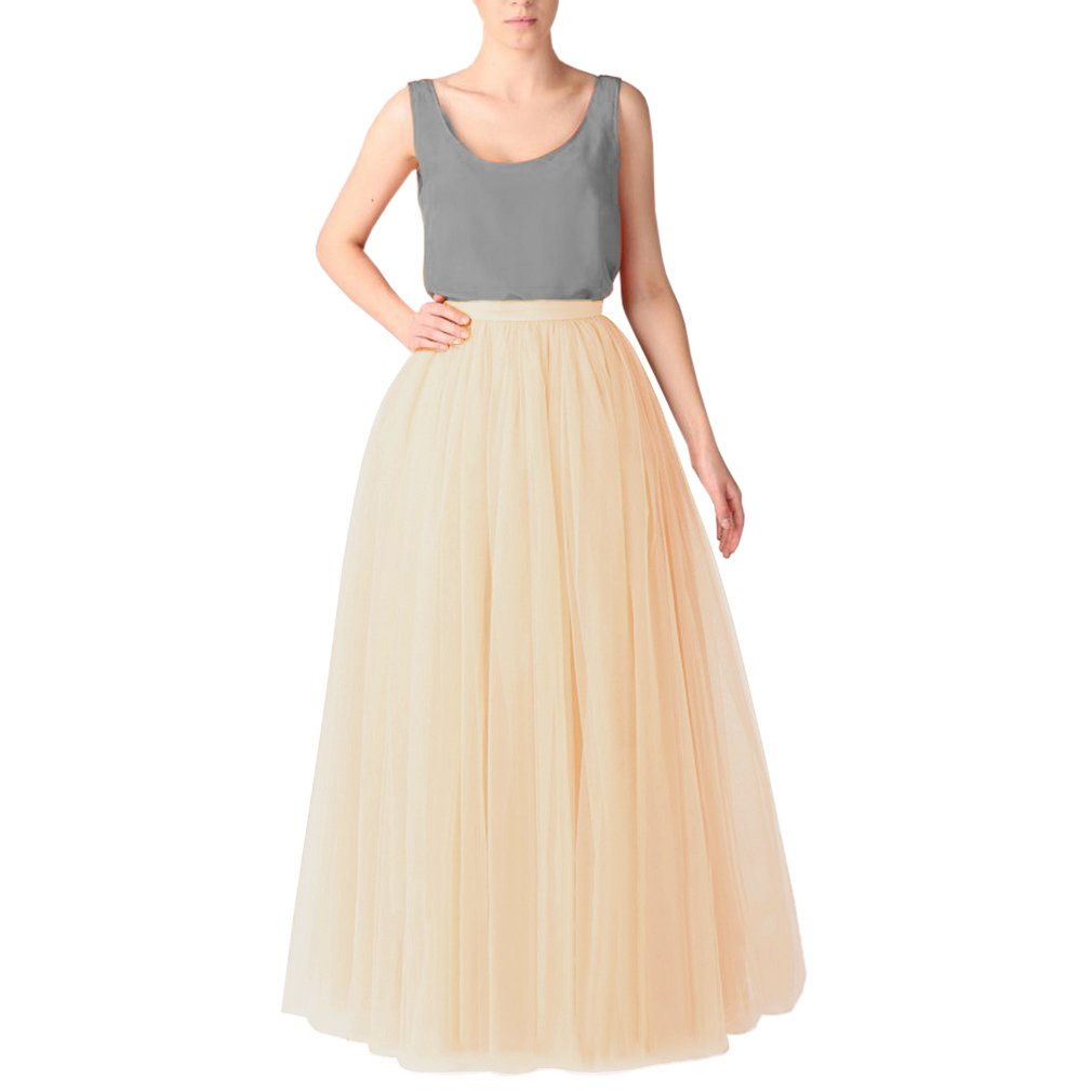 Champagne WDPL Women's Long Floor Length 5 Layer Bridal Tulle Skirt
