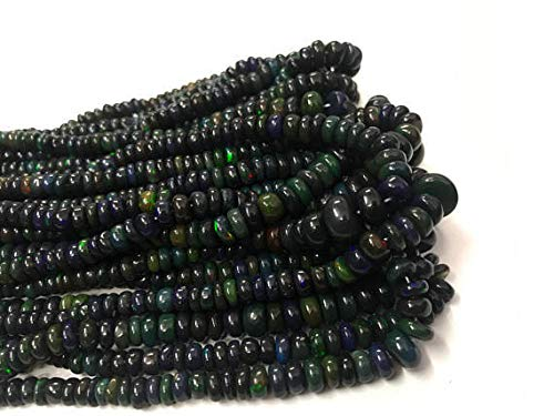(50 Piece of Black Opal Ethiopian Smooth 3-6MM Beads Strands, Ethiopian Beads, Black Opal Beads,Smoked Opal Beads,Opal Strand by LadoNarayani)