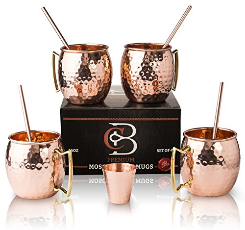 Moscow Mule Mugs 100% Solid Copper, Hammered, Gift Set of 4, No Nickel - Food Safe, 16oz, BONUS: 4 Straws + 1 Shot Glass & 2 E-Books by Copper-Bar (Hammered Copper Bar)