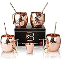 Moscow Mule Mugs 100% Solid Copper, Hammered, Gift Set of 4, No Nickel - Food Safe, 16oz, BONUS: 4 Straws + 1 Shot Glass & 2 E-Books by Copper-Bar