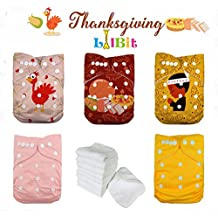 [Patrocinado] Lilbit día festivo Prints reutilizable bolsillo Baby Cloth pañales, talla única