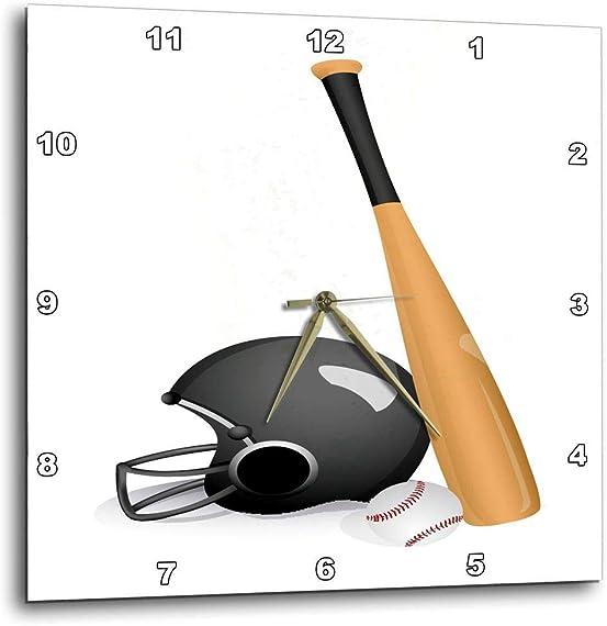 3dRose DPP_159151_1 A Baseball Bat Helmet Wall Clock, 10 by 10