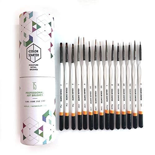 - Detail Art Brush Set by Color Starter - 15 pc Fine Miniature Painting Kit with Ergonomic Handle - for Scale Modeling, Watercolor, Acrylic, Paint by Number, Oil, Craft, Hobby Artist, and Rock Painting