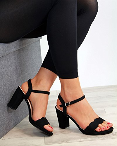 Larena Fashion New Womens High Block Heel Sandals Peep Toe Ankle Strap Party Shoes Black A0ZitYNDC
