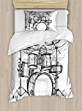 Ambesonne Rock Music Duvet Cover Set Twin Size, Doodle Drawing Sketch Style Drummer Musical Inspirations Monochrome Arrangement, Decorative 2 Piece Bedding Set with 1 Pillow Sham, Black White