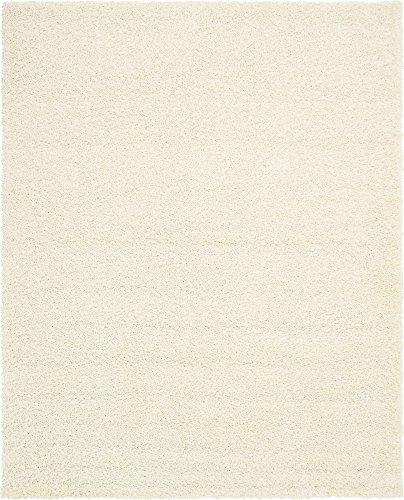 Modern Plush 8 feet by 10 feet (8' x 10') Solid Shag Snow White Contemporary Area Rug (White Shag Area Rug 8x10)
