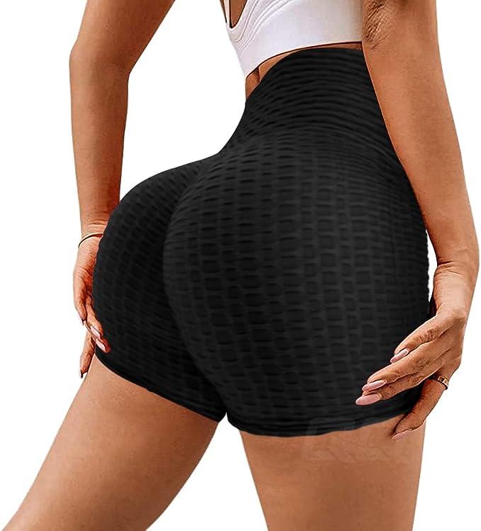 hohe Taille Fitnessstudio Sport TSUTAYA Yoga-Shorts f/ür Damen Strand Laufen Bauchkontrolle Hotpants strukturiert ger/üscht