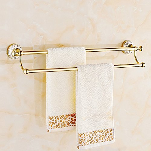 EQEQ Copper Pipe, Double Pole, Towel Racks, Towel Rails, Bath Room Towel Rack Toilet Bath Rooms Rooms Shower Trailer Accessories Golden Archaistic Communities (Size: 60.5 14.5 cm).