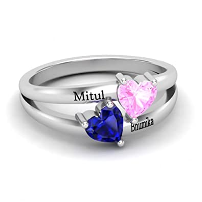 Amazon Com Personalized Birthstone Rings For Couple Custom Engraved
