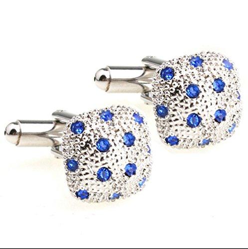 (Ladies' Cufflinks Bling Shining Square Mushroom Cufflinks with Blue Crystal Diamond)
