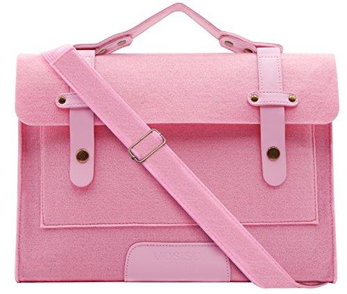 Mosiso Felt Laptop Shoulder Bag for 13-13.3 inch MacBook Pro, MacBook Air, Notebook Computer, Pink - Macbook Air Bag Pink