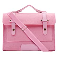 Mosiso Felt Laptop Shoulder Bag for 15-15.6 Inch 2017 / 2016 new MacBook Pro with Touch Bar (A1707), MacBook Pro, Notebook Computer, Compatible with 14 Inch Notebook Ultrabook, Pink