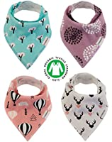 Baby Bandana Drool Bibs Organic 4 Pack for Girls with Snaps, Absorbent Soft Cotton for Teething Feeding Baby Shower Gift Scarf Bib (Pink Purple Coral Blue Heart) From Lil Dandelion