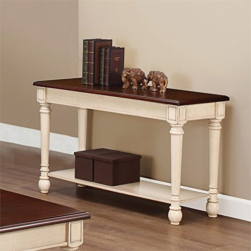 Coaster Home Furnishings 704419 Sofa Table, NULL, Dark Cherry/Antique White (Sofa Tables For Sale)
